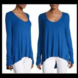 NEW Free People waffle knit tunic shirt blue large